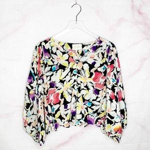 Yumi Kim Floral Silk Button Down Blouse